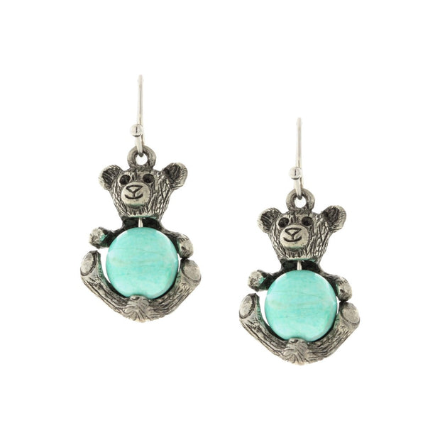 Turquoise Gemstone Quartz Teddy Bear Wire Earrings