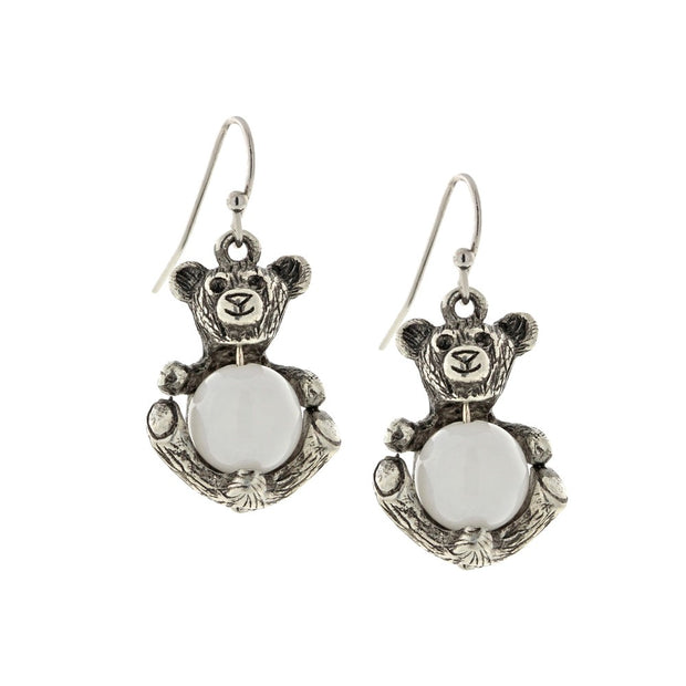 Pewter Round Semi Precious White Quartz Teddy Bear Wire Earrings