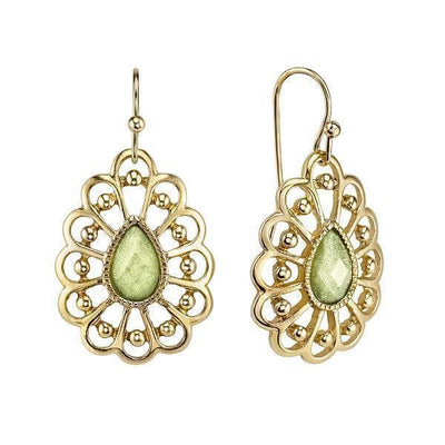 Gold-Tone Green Filigree Pearshape Drop Earrings