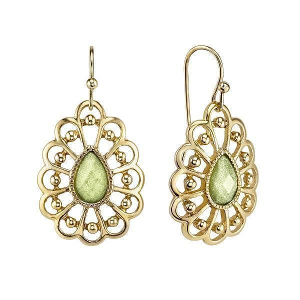 Gold Tone Green Filigree Pearshape Drop Earrings