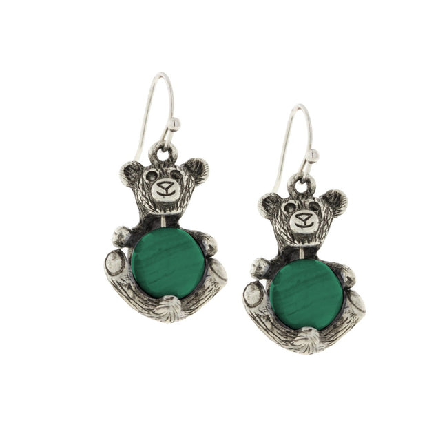1928 Jewelry Pewter Round Gemstone Quartz Teddy Bear Wire Earrings