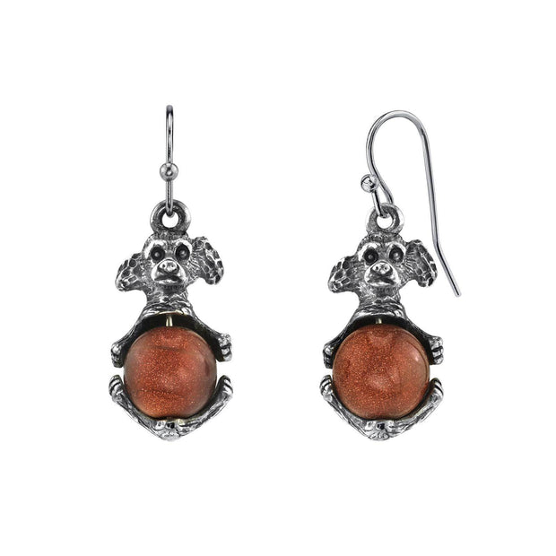 Pewter Round Semi Precious Goldstone Puppy Dog Wire Earrings