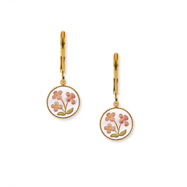 14K Gold Dipped Clear Pink Floral Stone Drop Earrings