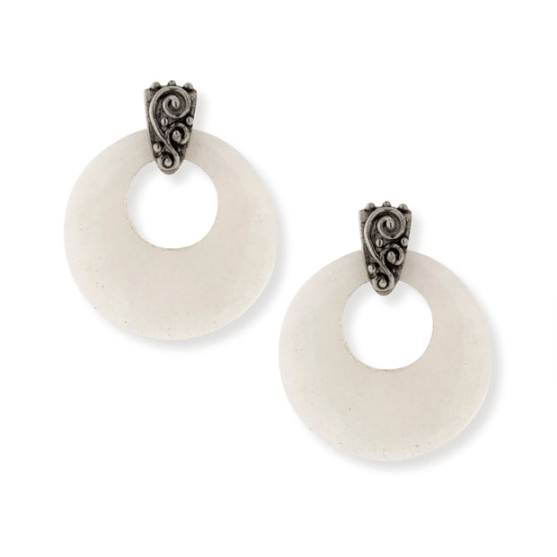 Pewter Gemstone Round Hoop Earrings White Quartz