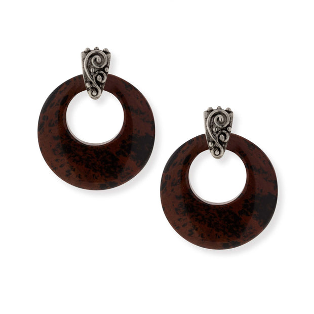 Pewter Gemstone Round Hoop Earrings Brown Obsidian