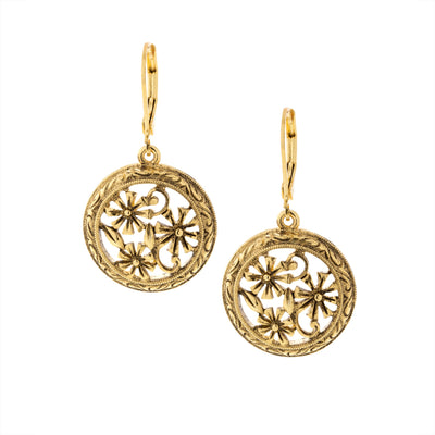 Round Floral Drop Earrings
