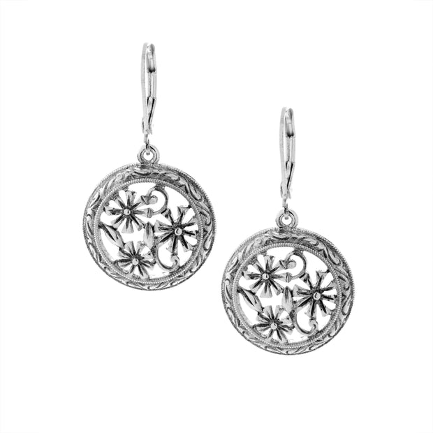 Round Floral Drop Earrings Silver