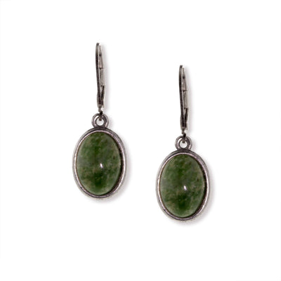 Silver Tone Semi Precious Oval Drop Earrings Jade