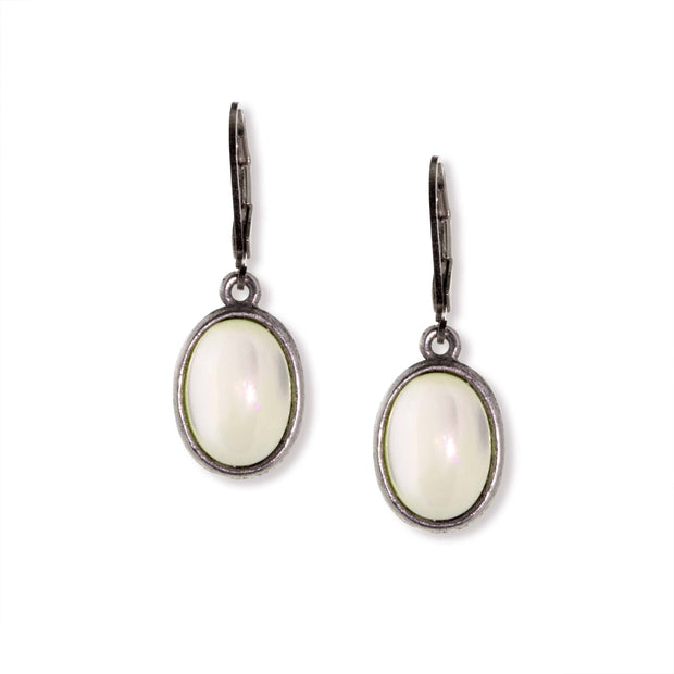 Silver Tone Semi Precious Oval Drop Earrings Nacre