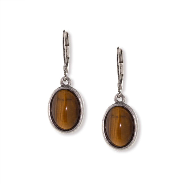 Silver Tone Semi Precious Oval Drop Earrings