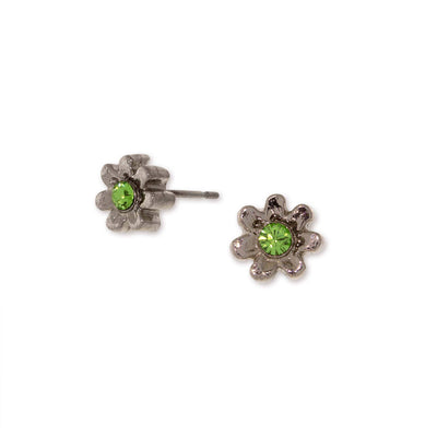 Silver Tone Light Green Crystal Tiny Flower Stud Earrings