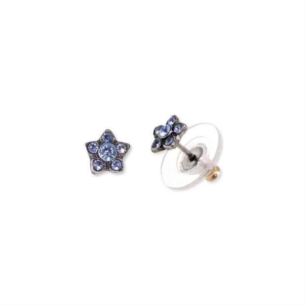 Silver Tone Light Blue Crystal Flower Dainty Stud Earrings