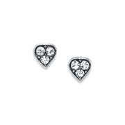 1928 Jewelry Silver Tone Clear Crystal Heart Stud Earrings