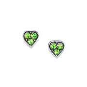 1928 Jewelry Silver Tone Crystal Heart Stud Earrings