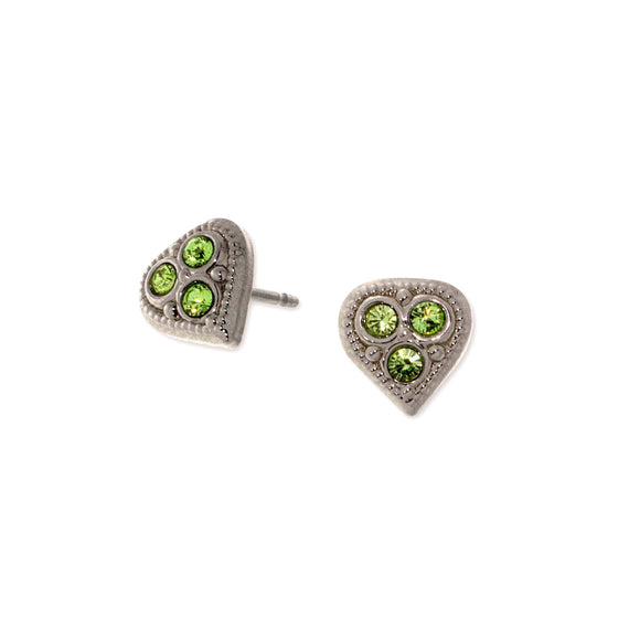 1928 Jewelry Silver Tone Light Green Crystal Heart Stud Earrings