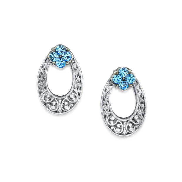 Silver Tone Crystal Oval Stud Earring