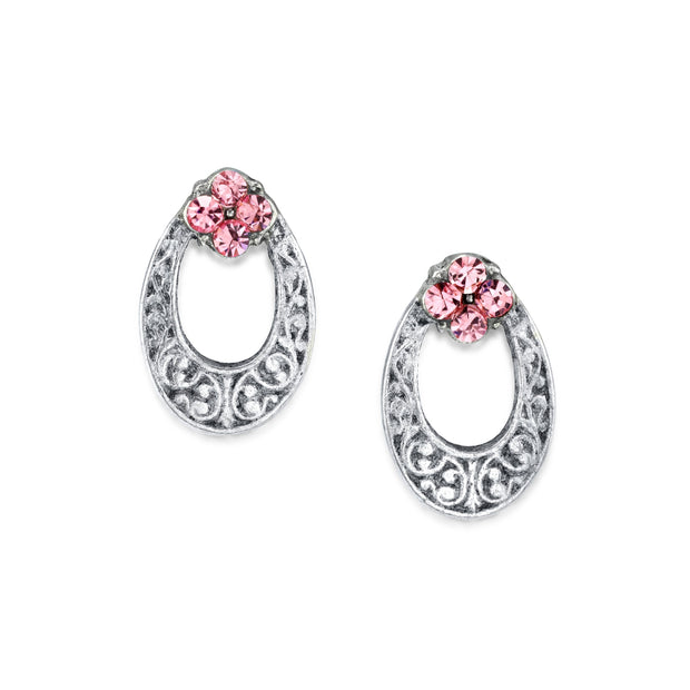 1928 Jewelry Silver Tone Pink Crystal Oval Stud Earring