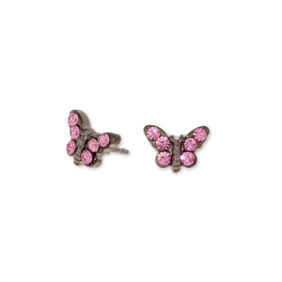 1928 Jewelry Silver Tone Pink Crystal Butterfly Stud Earrings