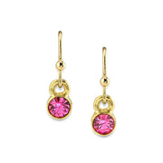 14K Gold Dipped Round Crystal Wire Drop Earring Pink