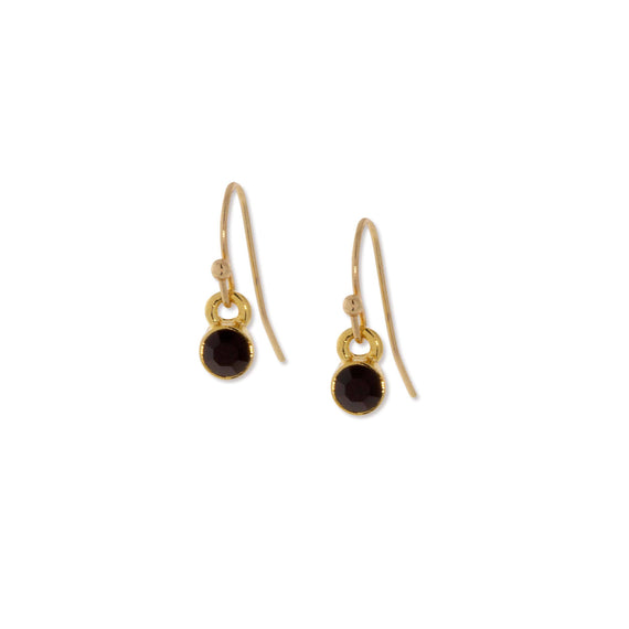 Gold Dipped Round Black Crystal Wire Drop Petite Minimalist Earrings