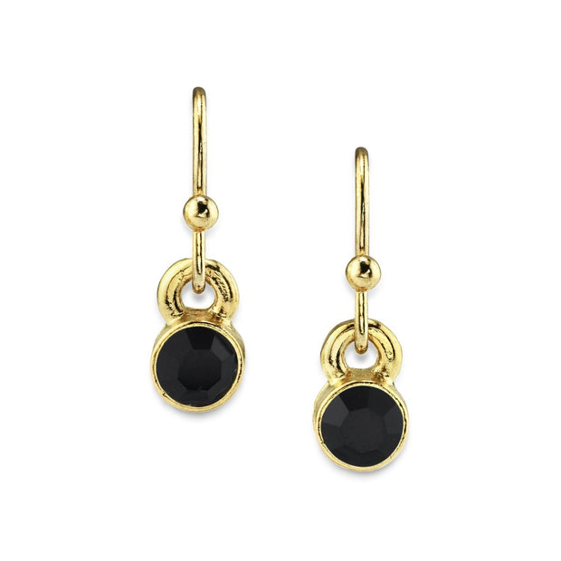 14K Gold Dipped Round Crystal Wire Drop Earring Black