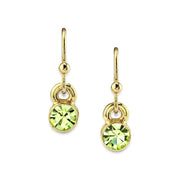 14K Gold Dipped Round Crystal Wire Drop Earring Light Green