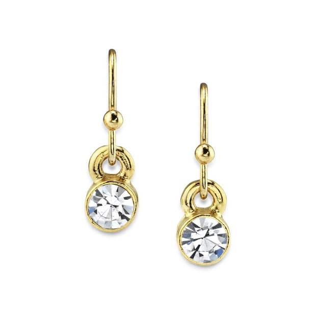 14K Gold Dipped Round Crystal Wire Drop Earring Crystal Clear