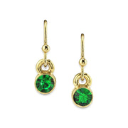 14K Gold Dipped Round Crystal Wire Drop Earring Dark Green