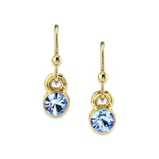 14K Gold Dipped Round Crystal Wire Drop Earring