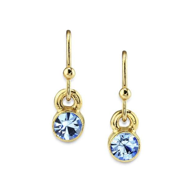 14K Gold Dipped Round Crystal Wire Drop Earring Light Blue