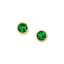 Gold Dipped Petite Minimalist Round Dark Green Crystal Stud Earring