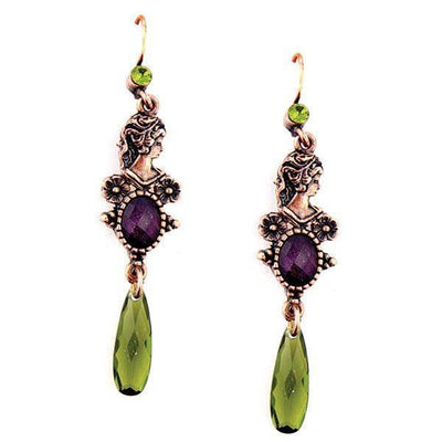 Copper Tone Olivine Green and Amethyst Crystal Drop Earrings