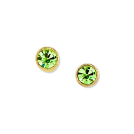 Gold Dipped Petite Minimalist Round Light Green Crystal Stud Earring