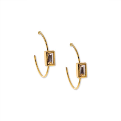 14K Gold Dipped Square Crystal Open Hoop Stainless Steel Post Earring