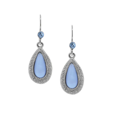 Silver-Tone Blue Moonstone Teardrop Earrings