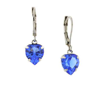Silver Sapphire Genuine Swarovski Crystal Heart Drop Earrings