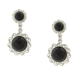 Silver-Tone Black Cabachon Drop Earrings