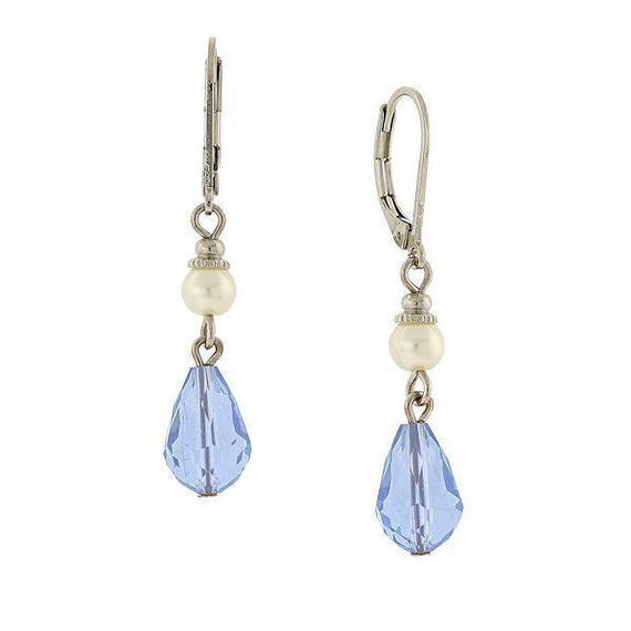 Simulated Pearl and Blue Crystal Drop Earrings