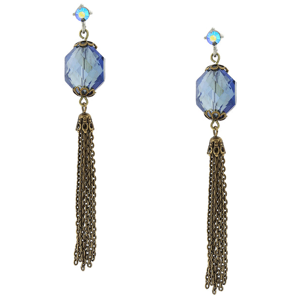 Burnished Brass Blue Ab Linear Tassle Earrings