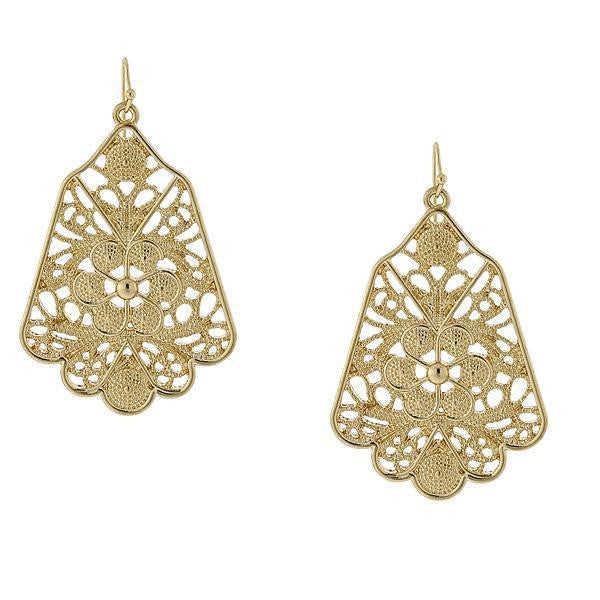 Gold-Tone Filigree Drop Earrings
