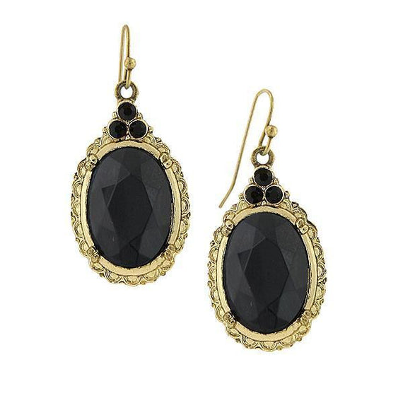 Fashion Jewelry - Gold Tone Jet Black Oval Drop Earrings