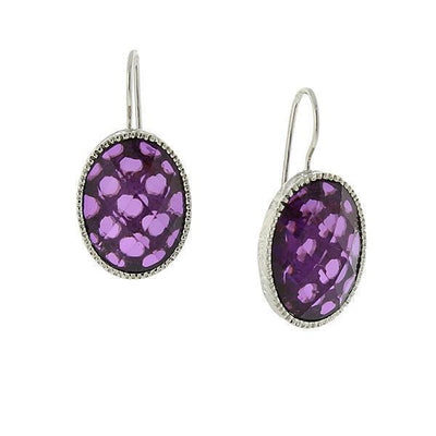 Silver-Tone Amethyst Purple Oval Faceted Drop Earrings