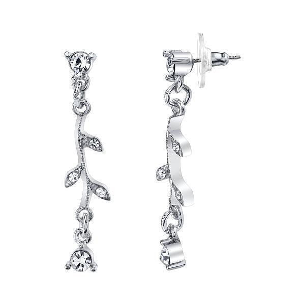 Silver-Tone Crystal Vine Drop Earrings
