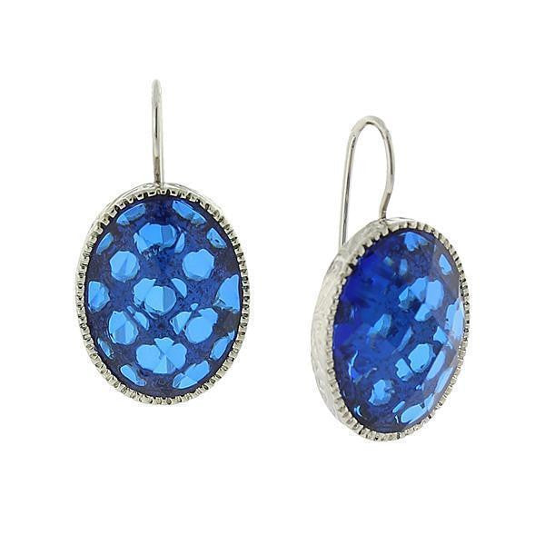 Silver-Tone Blue Oval Faceted Drop Earrings