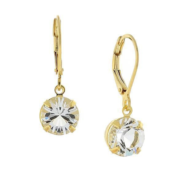 14K Gold Dipped Genuine Swarovski Crystal Drop Earrings