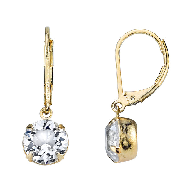 Gold Round Genuine Swarovski Crystal Drop Earrings