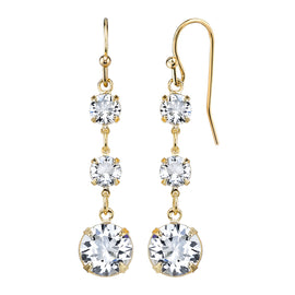 Fashion Jewelry - 14K Gold Dipped Genuine Swarovski Crystal Linear Drop Earrings