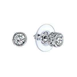 Silver-Tone Crystal Stud Earrings