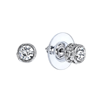 Silver Tone Crystal Stud Earrings