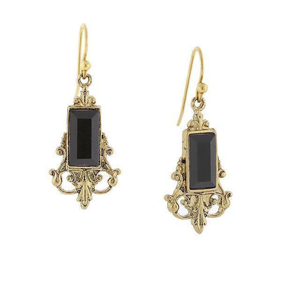 Gold Tone Black Drop Earrings